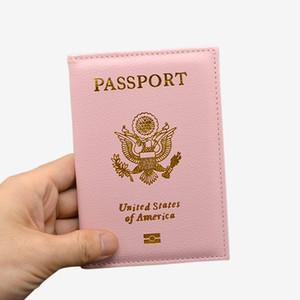 Gros- cuir PU mignon USA Porte-passeport couverture rose femmes couvertures de passeport Portefeuille américain pour les passeports filles Amérique Passeport