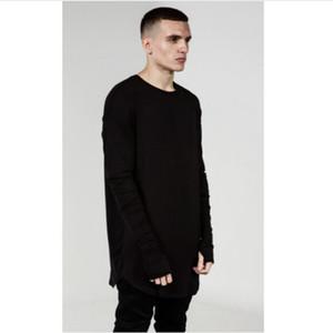 Мужская хип-хоп футболка полный с длинным рукавом футболка с большим пальцем отверстие манжеты тройники рубашки Кривой подол мужчины уличная одежда топы