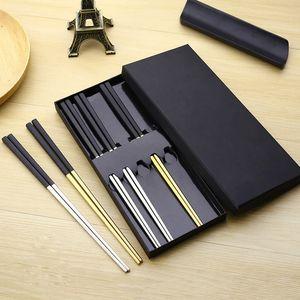 Wholesale- 5 Pairs High-grade 304 Stainless Steel Titanium Plating Black Head Square Chopsticks with Box Korean Chop Sticks Gift