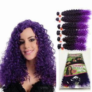 6 pçs / lote Jerry encaracolado freetress queda transporte cabelo ombre brown sintético tece encerramento, extensões de cabelo trança de cabelo para as mulheres negras