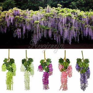 Wholesale-12pcs 105cm Silk Artificial Hanging Flower Silk Wisteria Plants Fake Flower Decorative Flower Wreaths for Wedding Home Decor