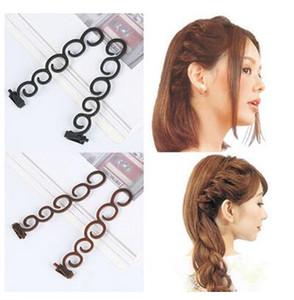 2 Pcs / set styling outil cheveux bigoudi Tressage Outil Braider Roller Crochet Avec Twist Styling Bun Maker Bande de Cheveux Accessoires
