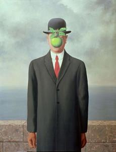 Enmarcado René Magritte Hijo del hombre giclee pintado a mano Retrato pintura al óleo sobre lienzo de alta calidad para el hogar decoración de la pared tamaño puede personalizar