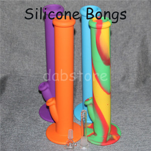 Silicone water bongs Hookahs For Smoking Bong Silicone Smoking Pipes Glass Water Pipe Dab Jar Dabber Wax DHL