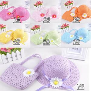 Lovely Sunflower Flower Kinder Sunhat Kinder Mädchen Lässige Strand Sonne Strohhut Cap + Stroh Tote Handtasche Tasche Set fit 1-6 Jahre Kind