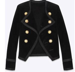 Kadın sonbahar yeni moda tasarım kruvaze uzun kollu ince bel kısa kadife blazer takım ceket casacos SMLXL