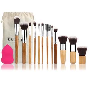 Ruimio 12pcs Professional Bamboo Handle Foundation Blending Blush Eye Face Pennelli per trucco Set +1 Blender Sponge Puff