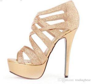 Glitter Femmes Talons Robe or Sandales Crossover Strappy spartiates femmes talon stiletto sexy chaussures d'été Sandales taille 35 à 39