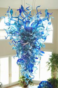 Hot Sale Candelabro Iluminação turquesa e azul Luzes Handmade vidro fundido Chandelier LED Light Pendant Light 110V-240V para Nova Casa Decor