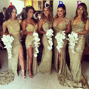 5 Styles Elegant Mermaid Gold Bridesmaid Dresses High Slit Floor Length Wedding Guest Dress Sequins Robe Demoiselle D'honneur