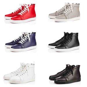 Zapatos rojos de lujo de los hombres inferiores, suela roja de las mujeres zapatos de cuero genuino que caminan planos, zapatillas de deporte superiores altas zapatillas de deporte casuales del partido