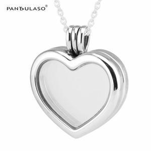 Kalp Şekli Yüzen Madalyon Orta Safir Kristal Cam Kolye Kolye gümüş takı DIY Gerdanlık zincir moda takı