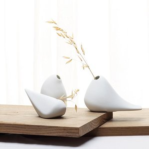(3 개 / 세트) 현대 조류 모양 세라믹 꽃병 홈 장식 탁상 꽃병 흰색 색상