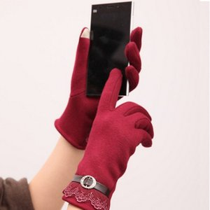 Wholesale- Hot New Wine Red Fashion Design Cotton Women Touch Screen Lace Gloves Cute Lady Gloves 2016