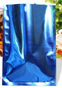 500pcs / серия Blue Heat Seal Алюминиевая фольга мешок для Powder Закуска Пакет Open Top Майларовый вакуума событий мешок Бесплатная доставка