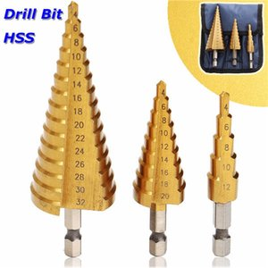 3Pcs 4-12 / 4-20 / 4-32mm Step Drill Bit Set 1/4 di pollice HSS Shank HSS Step Drill Bit in custodia