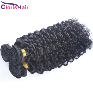 Parlak Kinky Kıvırcık Saç Dokuma İşlenmemiş ham Rus Burma Çinli Virgin İnsan Saç Paketler 3 adet ucuz İşlenmemiş Jerry Kıvırcık Atkı