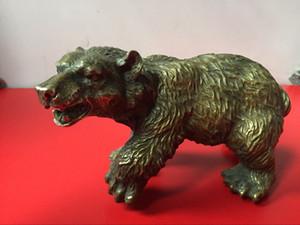 Rare Chinese Old Brass Collection Handmade Oso negro tallado Estatua de bronce caliente