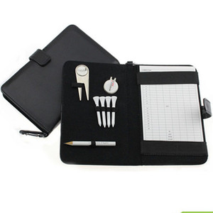 Al por mayor- CRESTGOLF Golf Score Card Holder PU Cover con Pencil / Divot Tool / Golf Tees / Hat Clip
