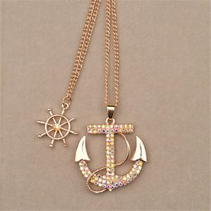 Sindlan Halskette Modeschmuck Charme Farbe Kristall Boot Anchor Rudder Anhänger Lange Halskette Multilayer Pullover Kette Für Frauen