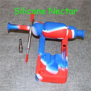 2017 SiliNectar Silicone néctar Bongos coletor de néctar de silício com 10mm titanium masculino pregos ferramentas dabber frete grátis DHL