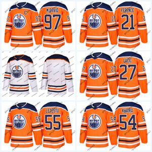 Edmonton Oilers Trikot 33 Cam Talbot 44 Zack Kassian 54 Jujhar Khaira 55 Mark Létestu 93 Ryan Nugent-Hopkins Eishockeytrikots Whte Orange