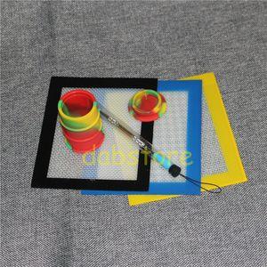 1 takım Silikon Balmumu Kiti Silikon pedleri ile set mat 26 ml varil davul konteyner silikon yağ kabı kuru ot kuru ot kavanozlar için dabber aracı