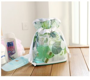 Wholesale- 2017 New Cosmetic Toiletry bag Transparent Bathing Pouch Waterproof Mesh Floral Printed Travel Makeup Essential Organizer Bag