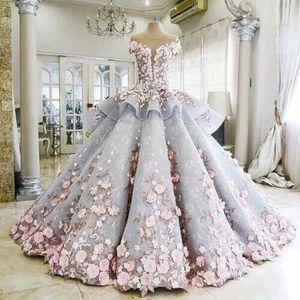 Vestidos de novia coloridos 2021 Casamento Vestidos de lujo de Novias O Cuello Apliqueado Abalorios Mano-Flores de manga corta Bola de bola Vestido nupcial