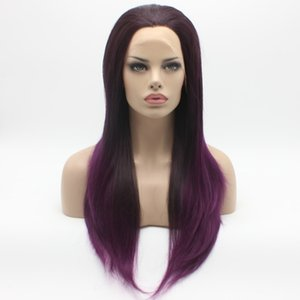 Iwona Hair Straight Long Dark Root Purple Ombre Wig 2#4 3700 Half Hand Tied Heat Resistant Synthetic Lace Front Wig