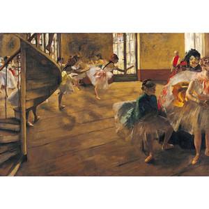 Эдгар Дега репетиция балета на сцене картина маслом холст ручная роспись танцоры картина для декора стен