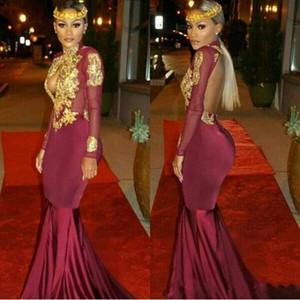 Südafrikanisches Gold und Burgund Abschlussballkleider Mermaid Sexy High Neck Applikationen Rüschen Tiered Party Kleid 2017 Neueste Kleid Design