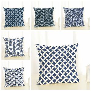Vintage blau Kissenbezug geometrische almofadas ethnischen chinesischen Großhändler cojines dekorativen Büro zu Hause speichern Kissenbezug