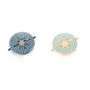 2 Color Round Turquoise Micro Pave Jewelry Fingdings Components for Bracelet Making in Stock, ICSP079, Size22.1*17.8mm