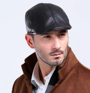 Wholesale- Sell Hot Men's Sheepskin Genuine Leather Beret Hats Caps Black Warm Gentlemen Winter Fall Leather Caps Hats High Quality