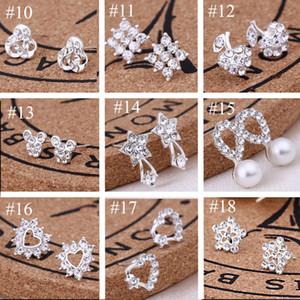 Novas Studs Brincos para as mulheres noiva do casamento garanhão moda jóias Brincos de diamante branco Gemstone Brinco Brilhante Cristal Brincos
