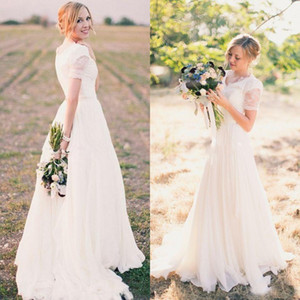 Vintage Country Style A Line Wedding Dresses V Neck Lace Top Chiffon Skirt Bridal Gowns Modest Wedding Dress with Short Sleeves