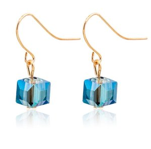 MultiSurface Crystal Square Earring Moda chapado en oro Fish Ear Hook Antique Dangle Chandelier mujeres pendientes envío gratis
