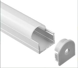 2m / pcs 50m / Lot libre expédition New Light Design LED linéaire Cabinet Profil avec opalin ou couvercle transparent et embouts en plastique