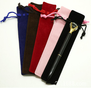 Titular Eco-Friendly lápis Velvet Pen caixa de lápis Individual Com Corda Para Rollerball Fountain canetas esferográficas Escola Stationery Office Gift Bag
