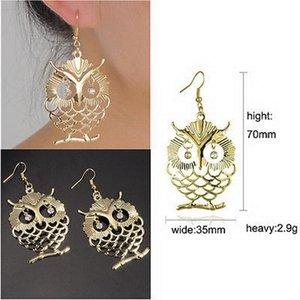 Cute Owl Stud Earrings Fish Hooks Earrings Dangles Chandelier Crystal 18K Gold Charm Stud Earrings Womens Jewelry Gift Long Eardrop Acc