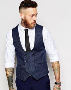 Los últimos diseños de pantalón de abrigo azul marino de doble botonadura de tweed de los hombres chaleco chaleco de moda Slim Fit formal formal con estilo Vestidos