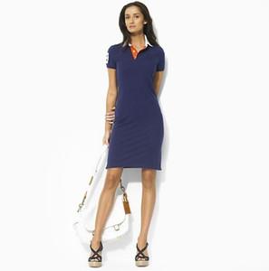 Buena calidad mujer nuevos vestidos de verano de algodón Jardín de cultivar la moralidad vestido de sirena vestido con mangas cortas de polo Vestido de noche