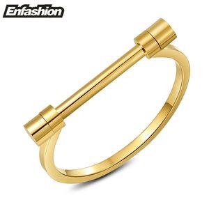 Enfashion Flat Shackle Screw Bracelet Pulseras brazaletes de brazaletes de acero inoxidable para las mujeres Cuff Bracelet Pulseiras