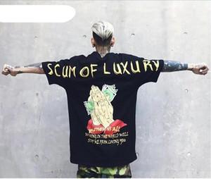 2017 hot sale SCUM DE LUXO DINHEIRO É TUDO Impresso Oversize solta camiseta Gota ombro hip hop rua homens tee moda coupls top