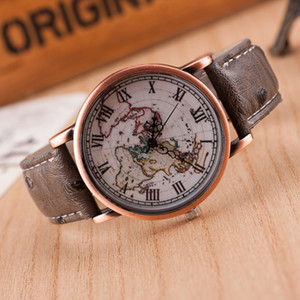 Hot Map Men watches Vintage Leather Strap Watch World Map Watch Unisex Quartz Watches popular design Men women Wristwatch