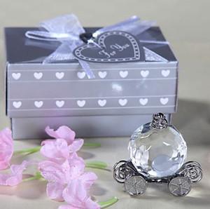 Regalos de devolución de la ducha nupcial Crystal Decoration Pumpkin Coach Favors Crystal Carriage Wedding Door Gifts 50pcs venta al por mayor