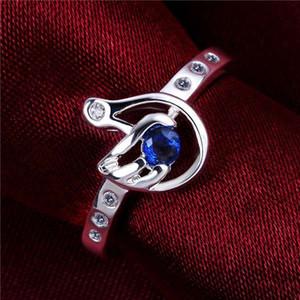 en iyi hediye El şekil gümüş yüzük GR534, kadın mavi taş 925 gümüş Düğün Rings yüzük