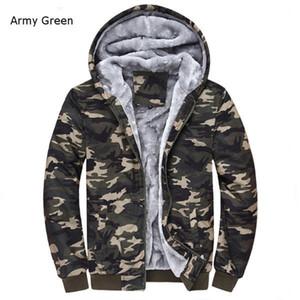 Al por mayor-Winter Warm Mens Camuflaje Escudo Casual Sudaderas con capucha espesa de lana con cremallera Tactical Camo Jacket Army Green; Chaqueta Militar Hombre