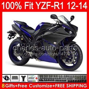 YAMAHA YZF-R1 Için 8 vites Enjeksiyon 12 13 14 YZF R1 12-14 parlak mavi 96NO115 YZF 1000 YZF R 1 YZF1000 YZFR1 2012 2013 2014 siyah mavi kaporta